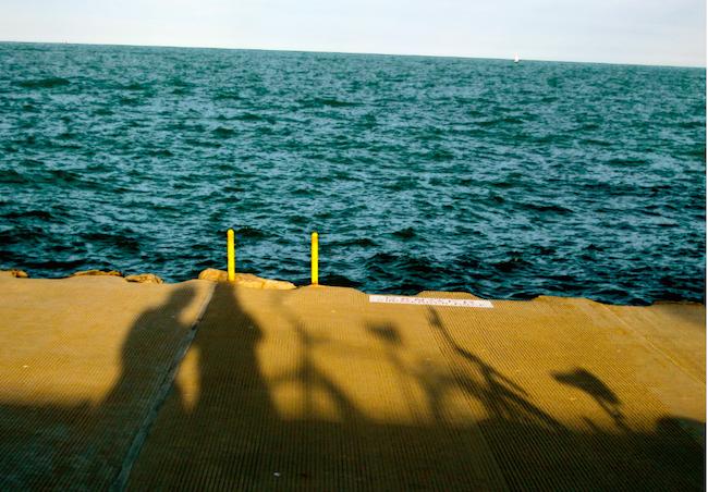 Lake Michigan shadows at sunset