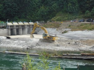 A mechanical excavator breaking the old Cofferdam. (D. Zimmer/USFWS)